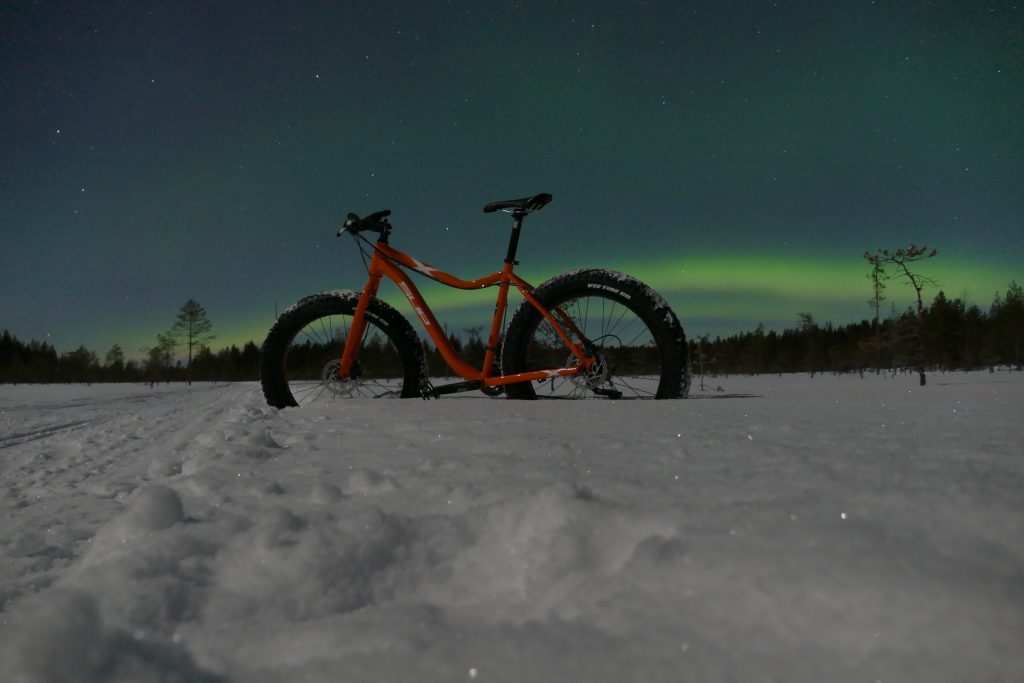 Fat biking is great way to search Aurora Borealis.